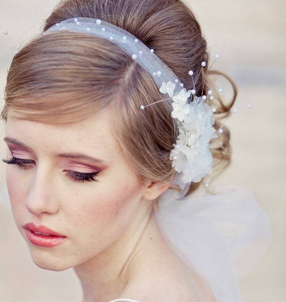 Bridal Flowers In Hair With Veil : Wedding veil tie headband of net and vintage by besomethingnew