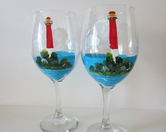 2  Handpainted Lighthouse Wine Glasses
