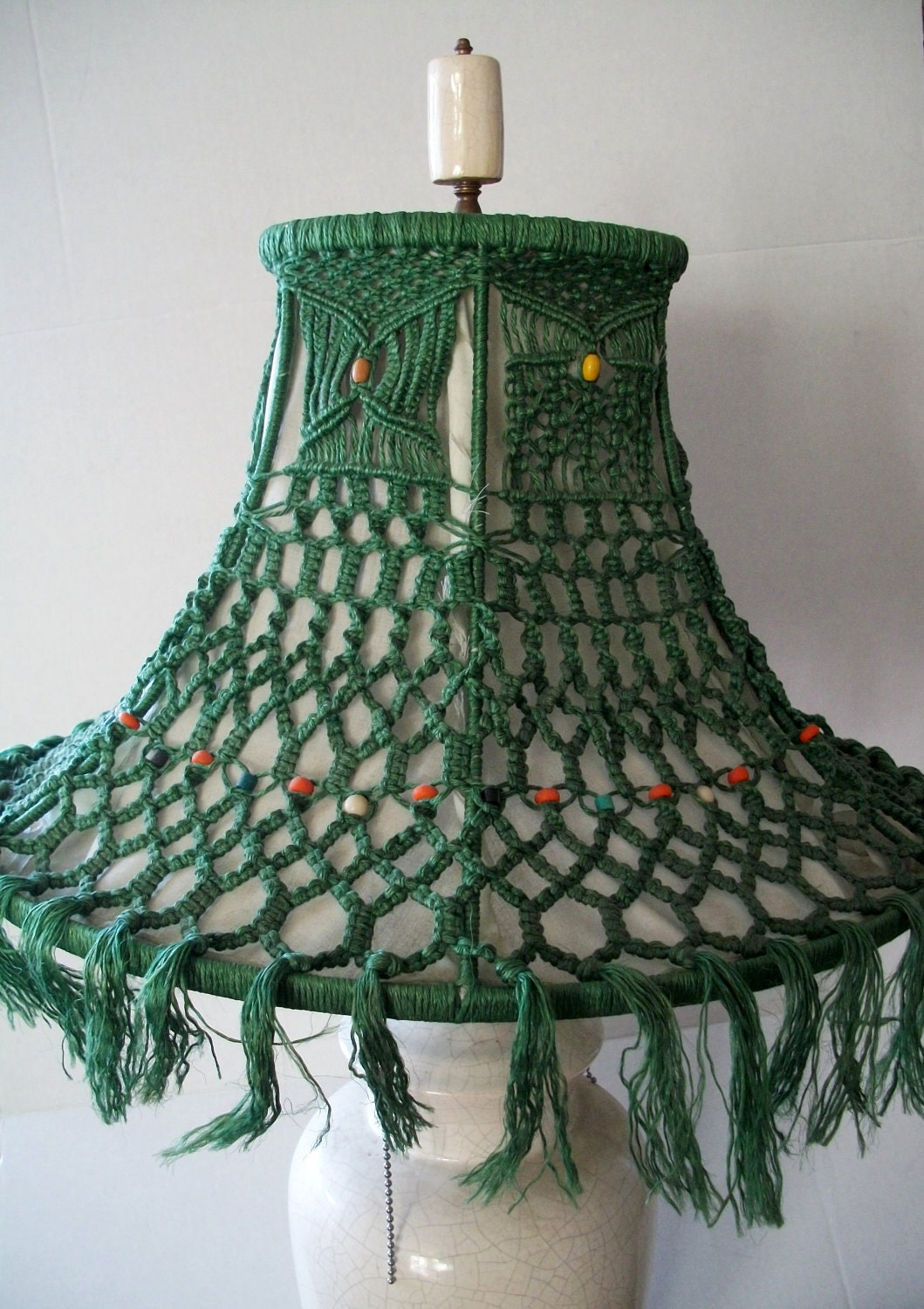 vintage lamp shade macrame green 1960s hippie retro boho. Black Bedroom Furniture Sets. Home Design Ideas