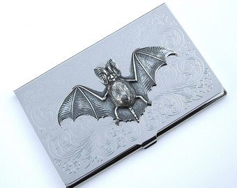 Bat Business Card Case Gothic Victorian Vampire Bat Card Holder Slim Silver Plated Metal Steampunk Card Case Halloween Bat Card Case New