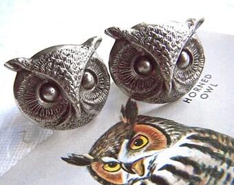 Big Owl Cufflinks BIG & BOLD Statement Cufflinks Antiqued Silver Cufflinks Men's Cufflinks Steampunk Cufflinks Round Owl Large Size