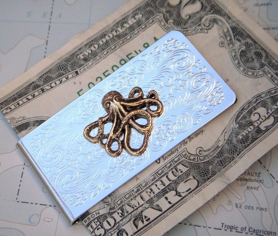Steampunk Money Clip Octopus Mixed Metals Silver Plated with Brass Gold Octopus By Cosmic Firefly Slim Metal Wallet Men's Gifts For Men