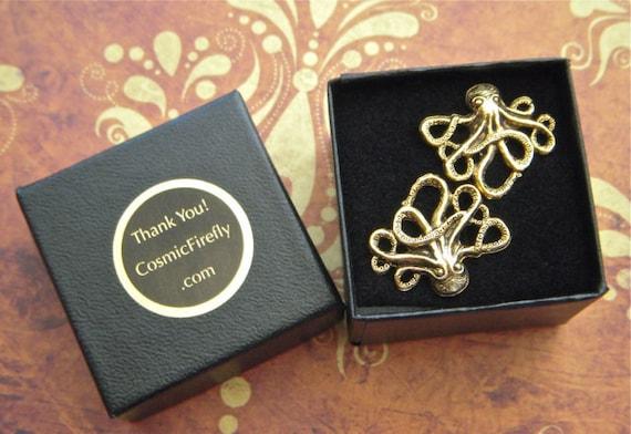 Octopus Cufflinks Gold Men's Accessories & Gifts Original Unique Nautical Steampunk Gothic Victorian Cuff Links Free Gift Box