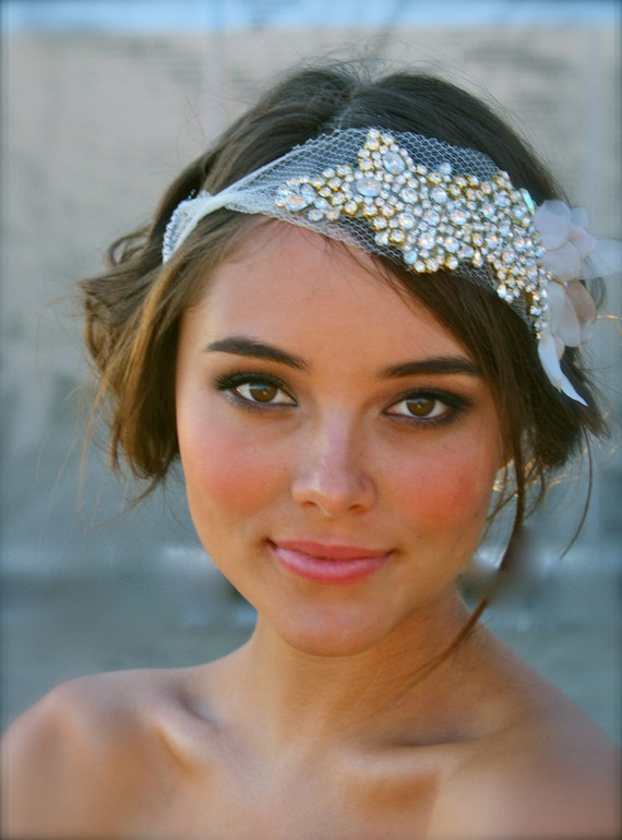 The Classic Crystal and Petal Mini Hair Bandeau- Lucy