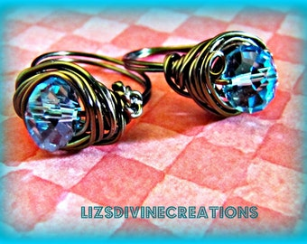 Blue Topaz Wire Wrapped Ring with Gun Metal Wire