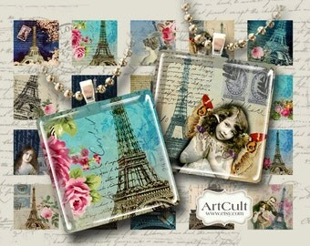 PARIS - Digital Collage Sheet 1x1 inch and 7/8x7/8 inch size Printable images for glass tile pendant trays magnets scrapbook