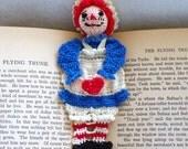 raggedy ann crochet bookmark, reading character bookmark