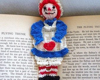 raggedy ann crochet bookmark, reading character bookmark, Valentine gift, red white and blue,