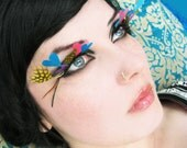 Love Eyes - Mod Psychedelic Feather Eyelashes w/ Rainbow-Colored Hearts and Swarovski Crystals - By Moonshine Baby