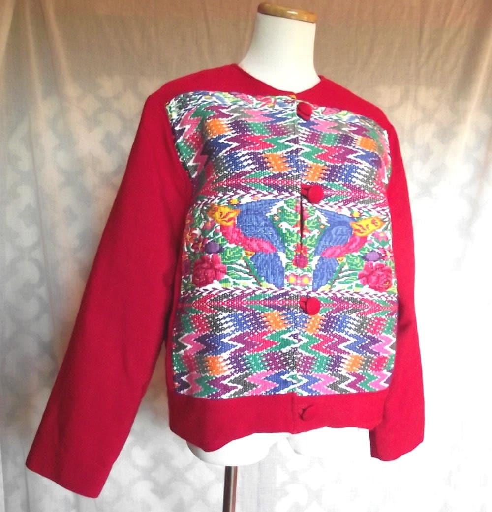 S guatemalan jacket vintage artesania ethnic embroidered