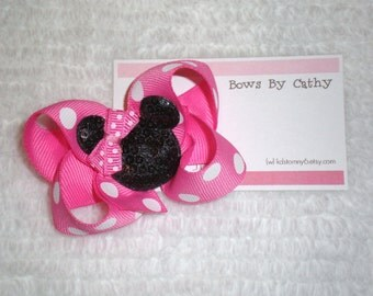 Hot Pink Minnie Mouse Bow - Minnie Mouse Birthday Bow - Small Hair Bow - Toddler Hair Bow - Baby Hair Bow
