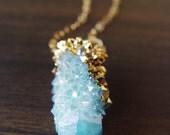 SALE Spirit Quartz Druzy Gold Dipped Necklace