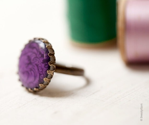 Purple Cocktail Ring - Adjustable ring - Statement ring - Gift for her - Purple jewelry (R045)
