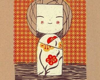 Kokeshi girl - Original screenprint