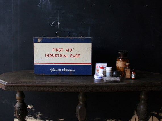 Vintage First Aid Box Industrial Wall Mounted Cabinet Style Metal Opens Multiple Ways