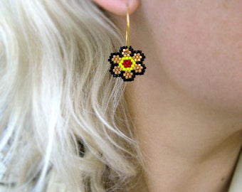 Earrings - Bright Fall Flowers - Brick Red, Bright Yellow, Metallic Gold and Black