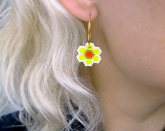 Earrings - Party Flowers - Bright Yellow, silver-lined Yellow, Bright Orange and White -k Gold plated sterling silver hoops