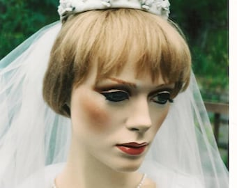 "Bridal veil with raw silk bun ring tiara and cream porcelain roses wedding veil diamond white 30"""