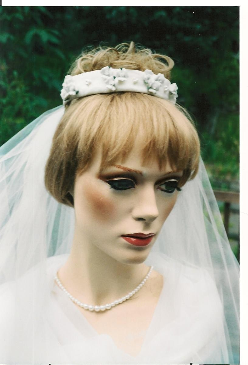 Bridal Veil With Raw Silk Bun Ring Tiara And Cream Porcelain