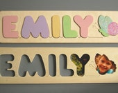 Wooden Name and Butterfly puzzle, a pretty and educational shower gift,  baby gift, or first birthday gift for girls - educational and FUN!