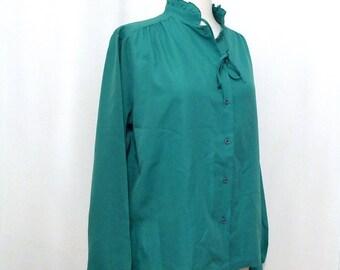 VTG 80s Ruffle Cuff Top Western Prairie Boho Chic Green Blue High Neck Romantic Shirt, Teal Bolo Tie Tuxedo Blouse on sale