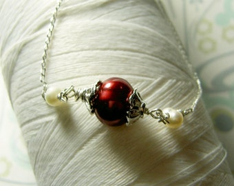 Ghostly Victorian - red pearl necklace / red necklace / victorian necklace / pearl necklace / bridal jewelry / pearl jewlery / red pearls