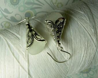 Silver Petticoats - white sea glass earrings / sea glass earring / seaglass earring / victorian earring / sea glass jewelry / drop earrings