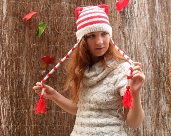 Knitted Striped Kitty Hat with Cat Ears - Made to order - Choose your own colour