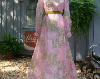 Vintage 1960s Formal Empire Waist Evening Gown Party