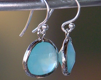 Sale/ Silver Framed Pacific Blue Crystal and Sterling Silver French Earrings
