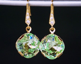Peridot Green Swarovski Crystals Set in Gold Dangling From CZ Detailed Gold French Earrings