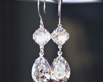 Beautifully Faceted Clear Swarovski Crystals in Diamond and Teardrop Shapes on Sterling French Earrings
