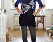 Cottontail Rabbit tshirt dress - eco friendly silver ink screenprint on black cotton - womens sizes S, M, L