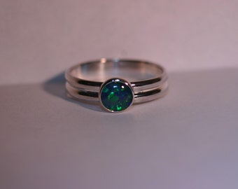Silver Ring with 6mm Opal Triplet Cabochon - Size US 6 - Ready to Ship