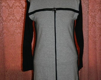 80s Grey Bodycon Dress Long Sleeve Small Medium