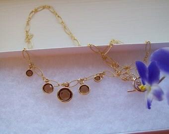 Smokey Topaz Gold Filled Necklace
