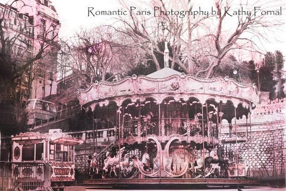 Paris Carousel Photography, Paris Pink Merry Go Round Carousel Horses, Paris Carousel Horses Print, Paris Carousels, Baby Girl Nursery Decor