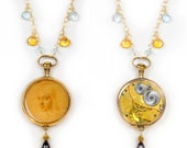 Multi Gemstones Gold Filled Antique 1915 Elgin Pocket Watch with Da Vinci's Drawing Steampunk Necklace
