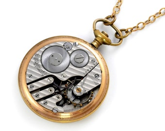 Steampunk Antique 1897 Ingersoll Pocket Watch Movement Necklace
