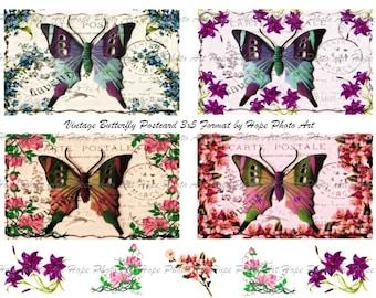 Vintage Butterfly Postcard Digital Collage Sheet II 3x5 -  atc aceo tags greeting cards stationary  - U print 300dpi jpg sh81