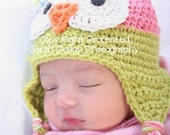 Toddler Owl Hat, Baby Girl Owl hat, 2T-4T, Pink and Green Owl hat, Crochet Owl Hats, Baby Girl Hats