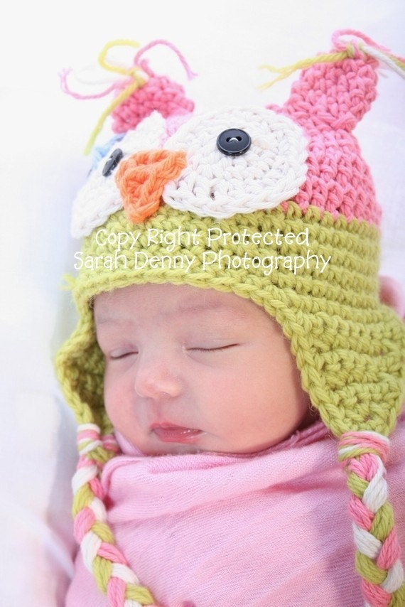 Crochet Baby Girl Owl Hat Pattern : Baby Girl Crochet Owl Hats Baby Owl Hats Baby Girl by azek2000