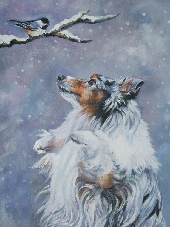 SHETLAND SHEEPDOG sheltie dog art canvas PRINT of LAShepard painting 12x16