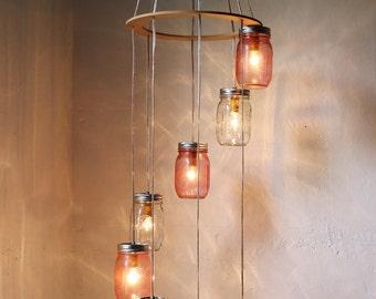 Pretty In Pink Mason Jar Chandelier Hanging Lighting Fixture, Rustic Spiral Waterfall Mason Jar Wedding Light - BootsNGus Lights & Decor