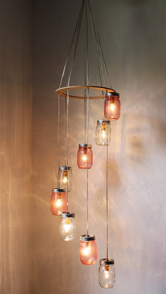 Pretty In Pink Mason Jar Chandelier Hanging Lighting Fixture, Rustic Spiral Waterfall Mason Jar Wedding Light - BootsNGus Lights & Decor