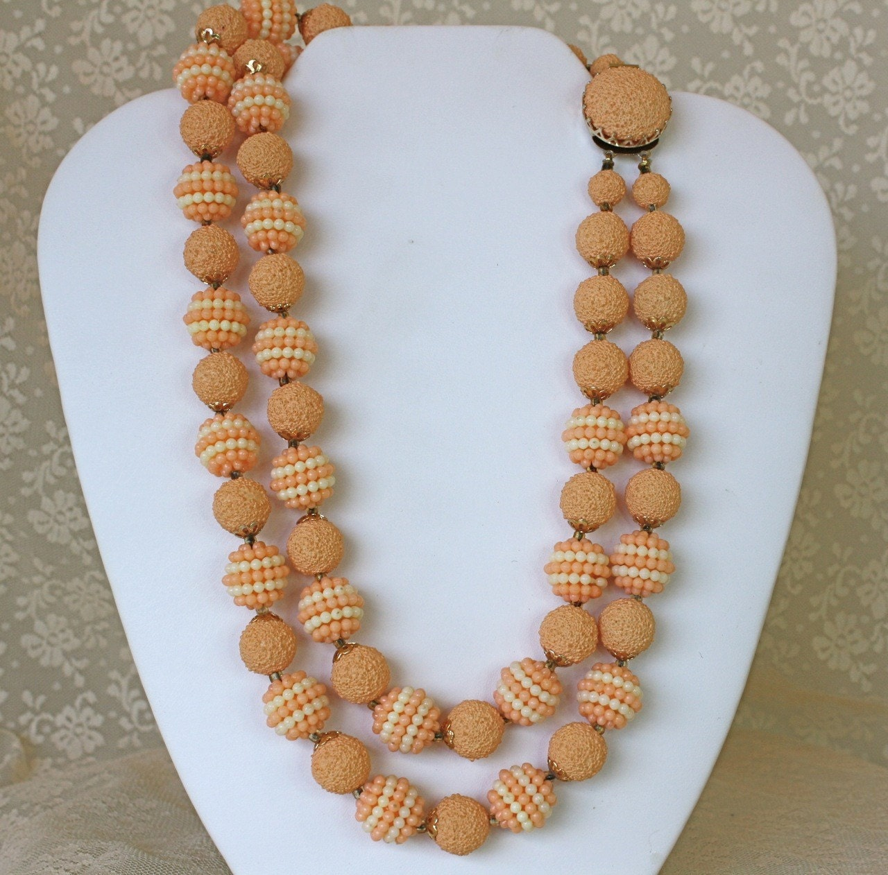 vintage 50s necklace orange strand plastic bead choker