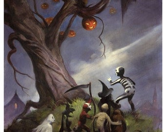 Mike Hoffman Spooky Trick or Treat Canvas Giclee Print THE HALLOWEEN TREE