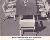 1963 ad Cole Steel conference table chairs office decor furniture midcentury modern Mad Men era retro design for framing - Free USA shipping