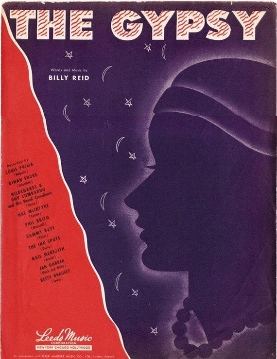The Gypsy sheet music 1946 vintage Billy Reid - Free U.S. shipping