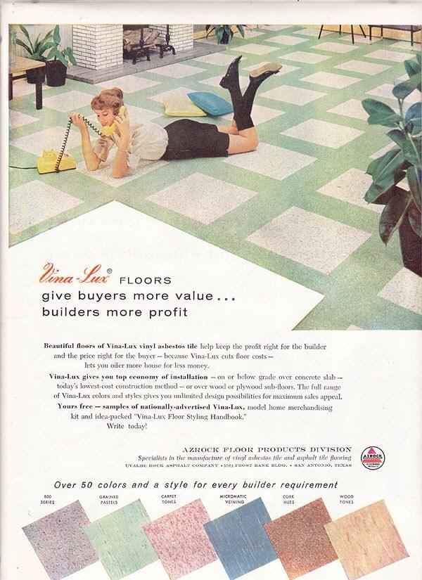 1950s Ad Vina Lux Azrock Floor Tile Midcentury By